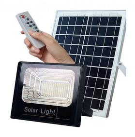 4 Refletores Solar Led 70w 6300lm Com Placa Solar