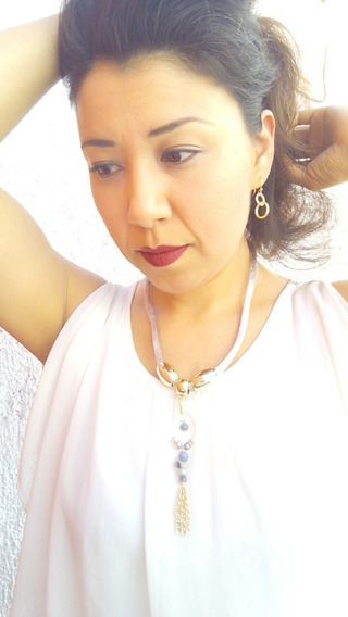 Collar Artesanal Mexicano Gris Bisuteria Moda Mujer