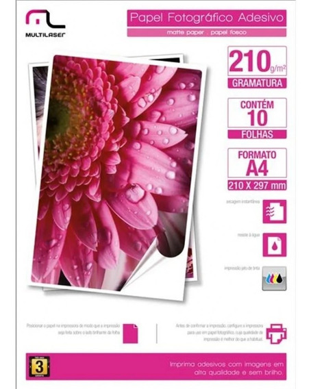 Papel Fotográfico Adesivo 210g/m2 A4 Com 10 Folhas Multilase