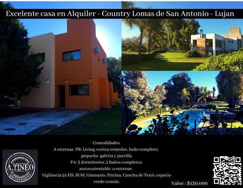 Imagen 1 de 4 de Excelente Casa En Alquiler - Country Lomas De San Antonio - Lujan