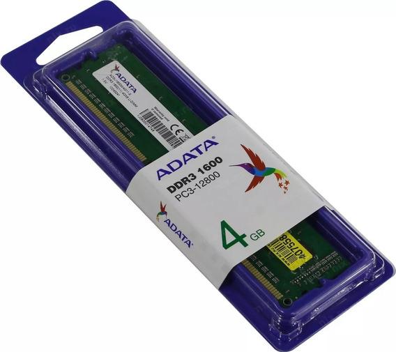 Memoria Ram Para Pc Dimm 4 Gb Ddr3 Adata 1600 Mhz Caballito