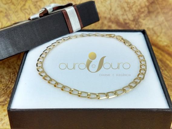 Pulseira Masculina Elos Iguais Oval 4mm 20cm 100% Ouro 18k