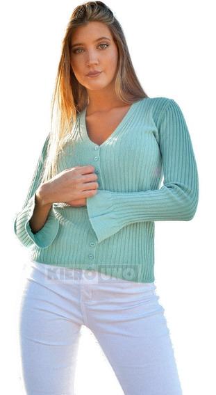 Cárdigan Sweater Fino Mujer - Escote En V Botones Kierouno