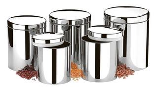 Porta Mantimentos Potes Inox Conjunto Com 5 Peças Brinox