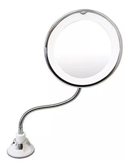 Espelho Led 360 Flexível Aumento 10x Ventosa Maquiagem Ofert