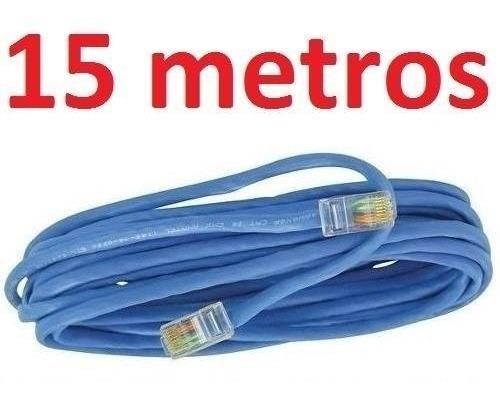 Cabo Rede Cat5e Azul 15m Metros Internet Net Lan Utp Montado