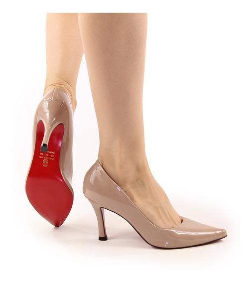 Sapato Feminino Scarpin Luxo Confort Bico Fino Nude Verniz