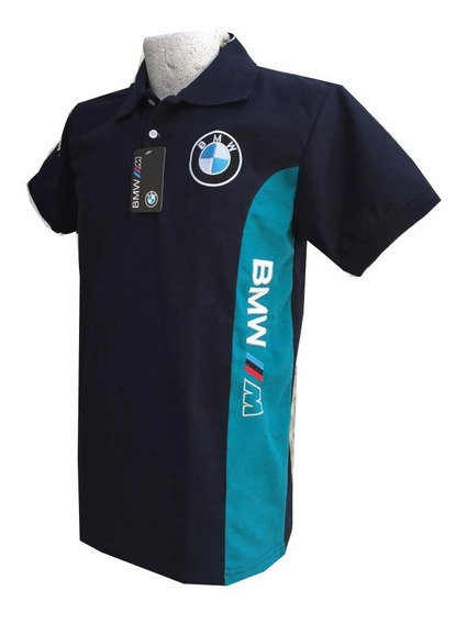Playera Tipo Polo Bmw Franjas Colores