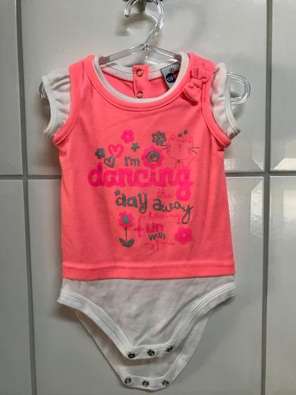 Body Tip Top Laranja & Branco Baby - G