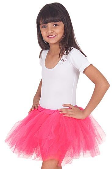 Saia Tule Fantasia Carnaval Ballet Infantil Rosa Branco Pink