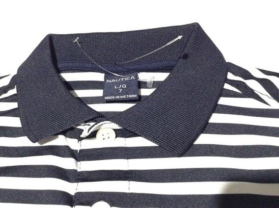 36 Blusa Polo Azul Marino-blanco L(7) De Niña Marca Nautica