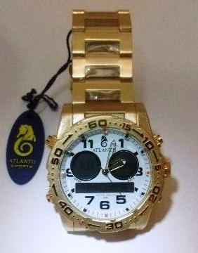 Relógio Original Atlantis Ana Digi 3228 Aço Dourado E Branco