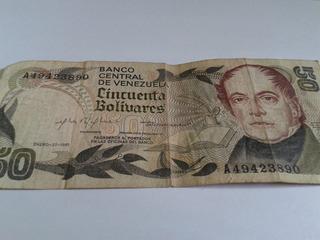 Billetes De 50 Bs. Coleccionable De Los Años 80 Usado