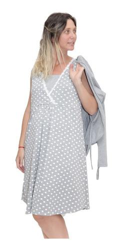 Imagen 1 de 7 de Camison Maternal Para Amamantar Con Saco Manga Larga 20642