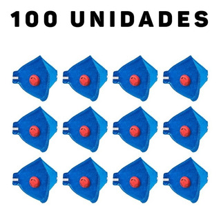 Kit 100 Máscaras Contra Poeiras E Névoas Com Válvula Pff1