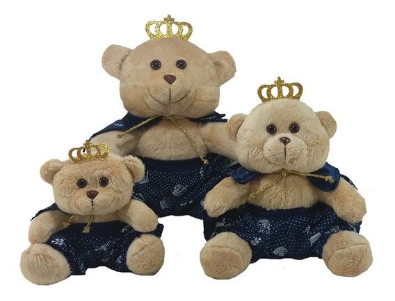 Trio De Urso Príncipe Marinho Pelúcia Bege