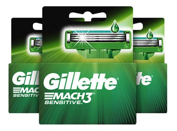 Packx3 Gillette Mach3 Sensitve Cartuchos De Afeitar De 2 Uni