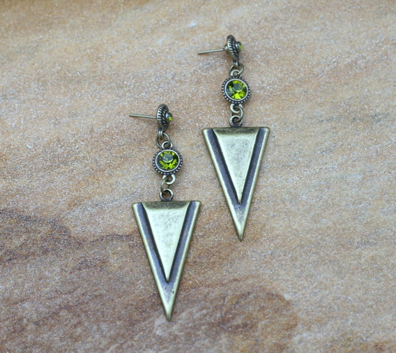 Brinco Longo Geometrico Ouro Velho Verde Bijuterias Moda