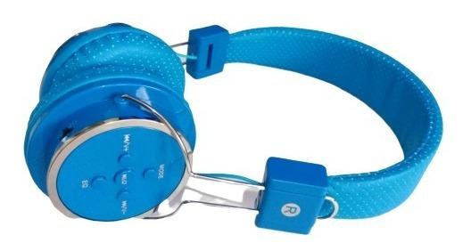 Fone Bluetooth Headphone Recarregável Azul Entrada Micro Sd