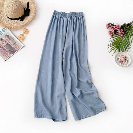 Mulheres Grande Perna Calças Sólido Alto Subir Gelo Seda C