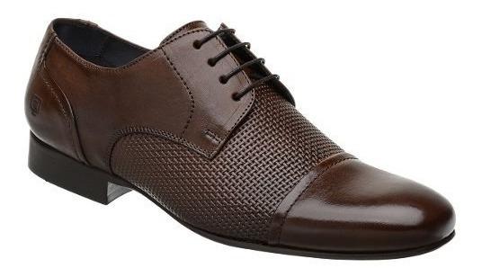 Sapato Social Malbork Em Couro Marrom Com Cadarço