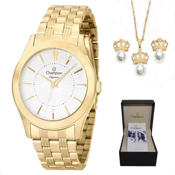 Relógio Champion Feminino Cn25378w + Kit Brinde + Nf