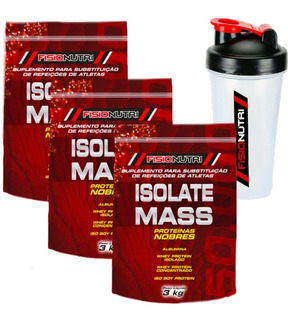 Kit 3x Hipercalórico Massa Isolate Mass Refil 3kg + Brinde