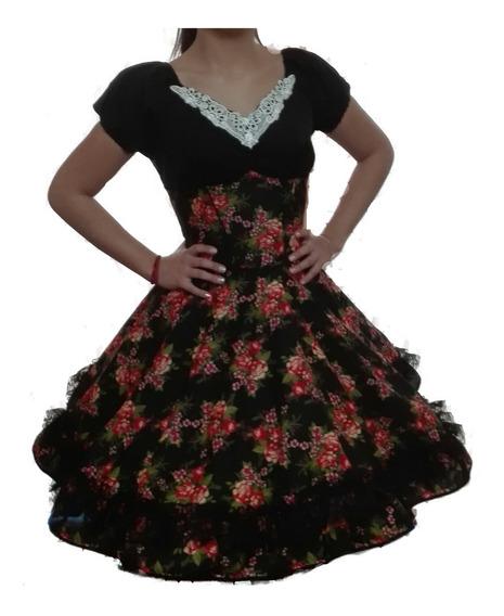 Vestido De Huasa Cueca China Talla S M L Xl Negro Floreado