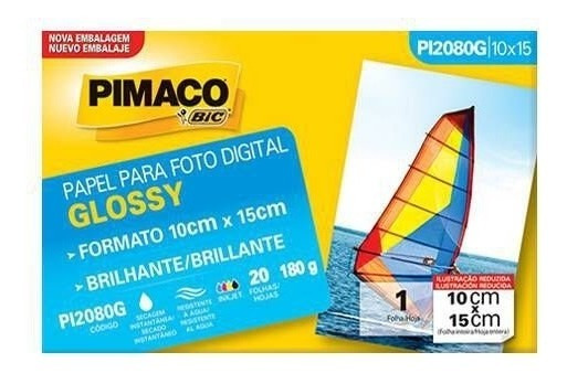 Papel Eco Gloss Glossy 180g Envelopes 20 Fls (10x15) Pimaco