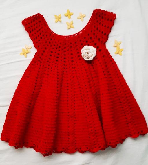 Vestido Rojo Tejido Al Estilo Croché Para Niñas De 1, 2 Años