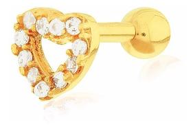 Piercing De Ouro 18k Para Cartilagem / Tragus Coração