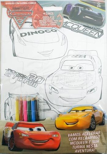 Imagem 1 de 1 de Disney Diversão Quebra-cabeça Carros + Lápis De Cor+ Colorir