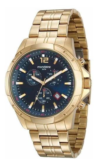Mondaine Relógio Aço Cronógrafo Dourado