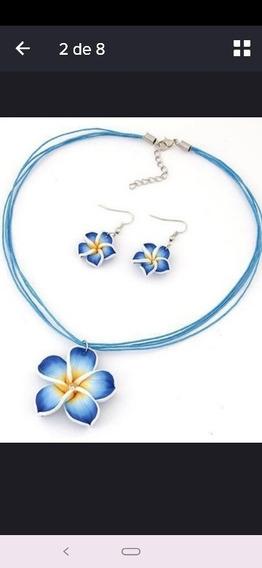 Conjuntos Brinco E Colares De Florzinha,azul Bebê E Branco