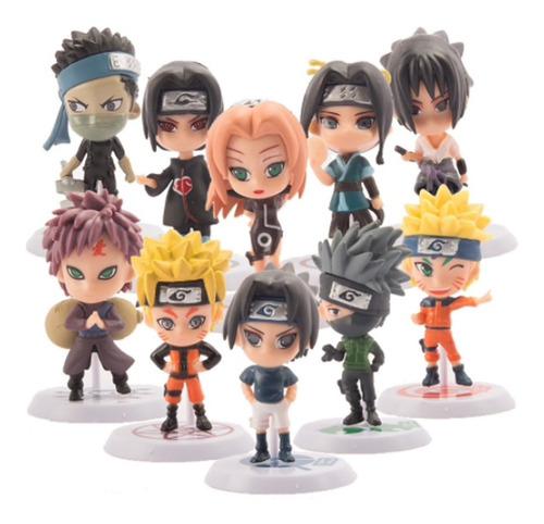 Naruto Set De 10 Figuras Kakashi Itachi Gaara Sasuke