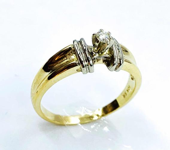 Anillo De Compromiso Con Diamante Natural En Oro A 10k 3.4gr