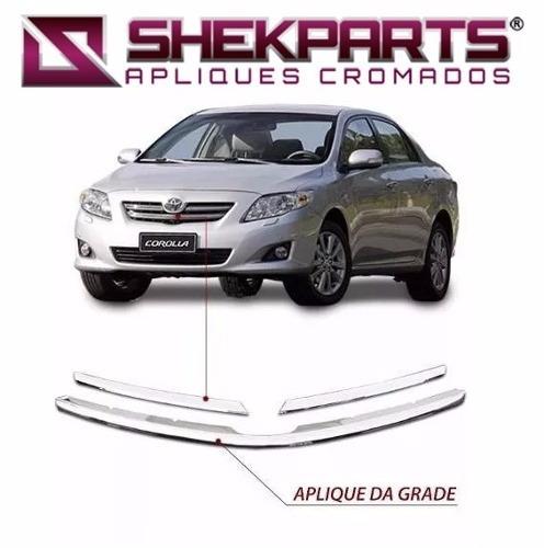 Kit Aplique Friso Cromado Da Grade Novo Corolla 08 Em Diante