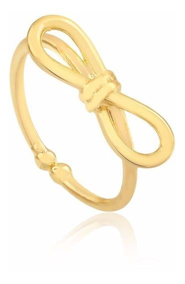 Anel De Laço Semijoia Banhado Ouro 18k Pandora Regulável