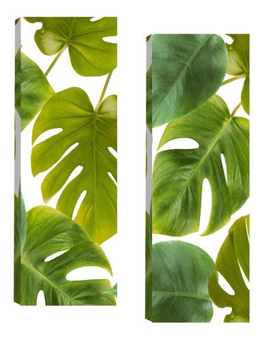 Imagem 1 de 5 de Quadros Para Sala Quarto Folhagem Verde Par 20x60cm R1