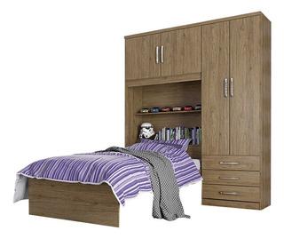 Conjunto Dormitorio 4 Puertas 3 Cajones Ropero Armario Cama