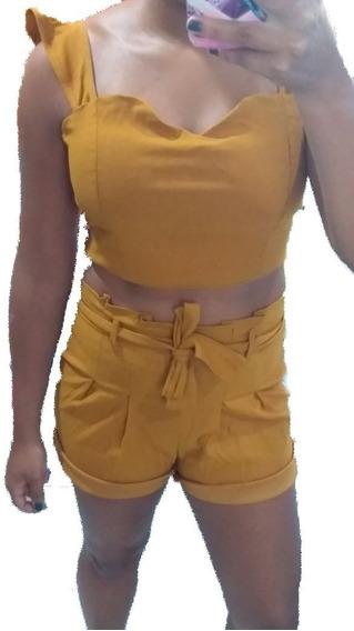 Roupas Femininas Conjunto Shorts Mais Cropped Com Bojo