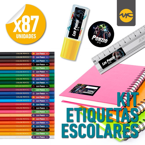 Imagen 1 de 6 de Kit Etiquetas Escolares Personalizadas