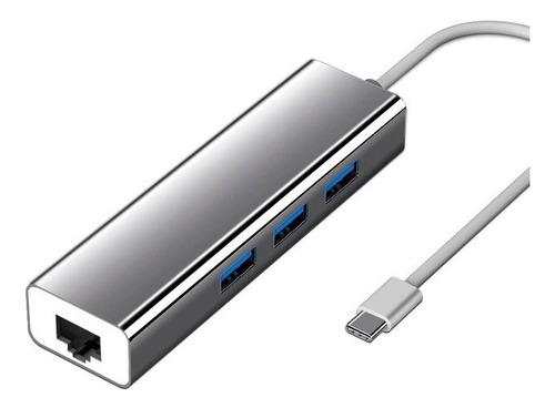 Imagen 1 de 5 de Adaptador De Red Tipo C A Rj45 Ethernet 3.0 + Hub 3.0 4en1