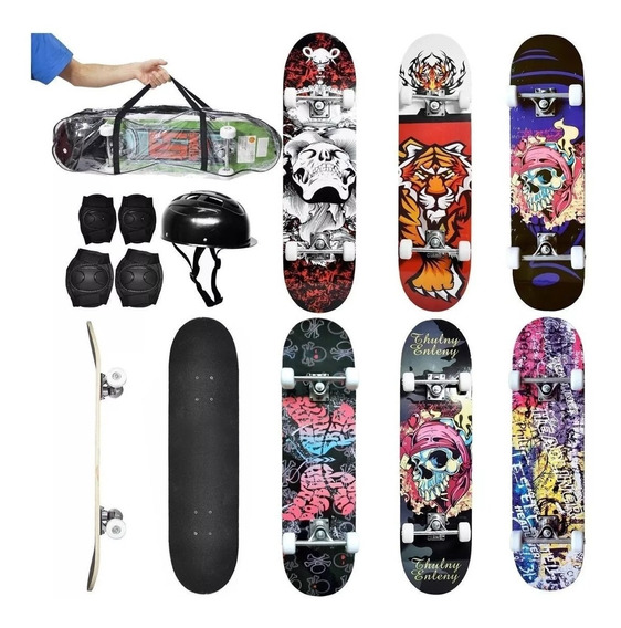 Skate Radical Super C/ Kit Proteção + Bolsa Dm Toys 4893