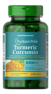 Extrato Cúrcuma Curcumin 1000mg Bioperine 5mg - 120 Caps