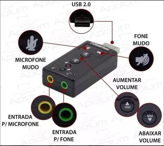 Placa De Som Usb 7.1 Canais Mod Xt 2028