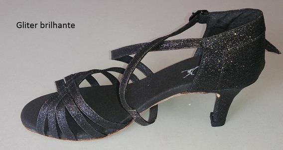 Sandália Para Dança De Salão Preta Purpurinada Capezio