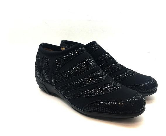 Zapato De Cuero Cómodo Para Dama Modelo 94 / Negro