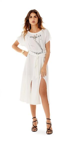 T-shirt Decote Redondo Com Amarracao Off White Morena Rosa.