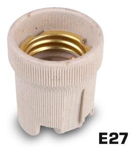 Portalampara Ceramico Zocalo E27 Rosca Comun Con Mensula